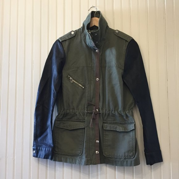 H&M Military jacket with faux leather sleeves 10